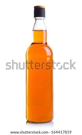 alcohol bottles on white background. - stock photo