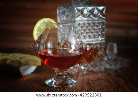 alcohol brandy set glass and carafe  - stock photo