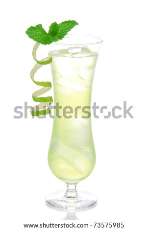 Alcohol cocktail based on Passion fruit, tequila, sprite, vodka, pina colada, light rum decorated with mint and lime spiral on top in mojito glass filled with ice - stock photo