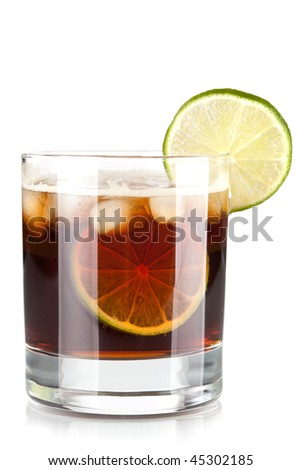 Alcohol cocktail collection - Cuba Libre. Isolated on white background