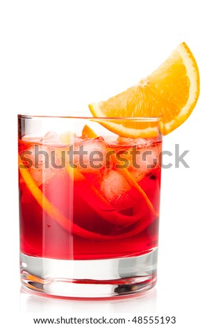 Alcohol cocktail collection - Negroni with orange slice. Isolated on white background - stock photo