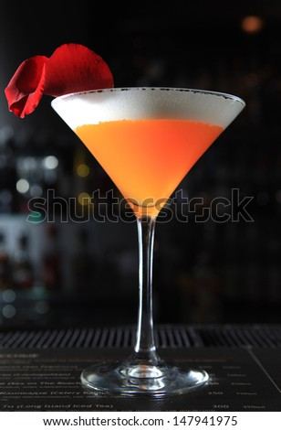 Alcohol cocktail in a bar