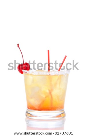 Alcohol cocktail long island iced teas with crushed ice, red cherry, straws, lime in small glass isolated on white background - stock photo
