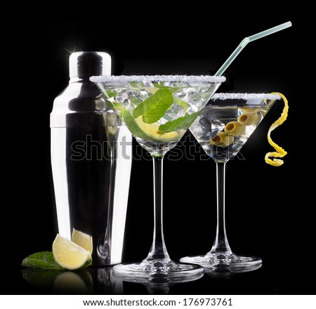 alcohol cocktail set on a black. Berry cooler cocktail, martini, mojito - stock photo