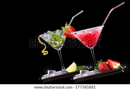 alcohol cocktail set on a black. Berry cooler cocktail, martini, mojito,  Pina Colada