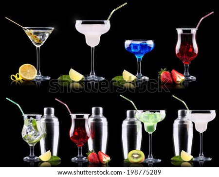 alcohol cocktail set on a black party background - stock photo