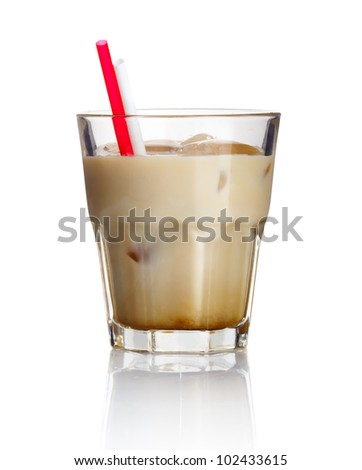 Alcohol cocktail 'white russian' isolated on white background - stock photo