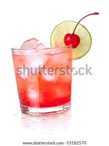 Alcohol cocktail with maraschino and lime. Isolated on white background - stock photo