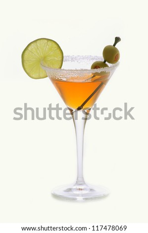 Alcohol cocktail with of lime slice and sugar alcohol