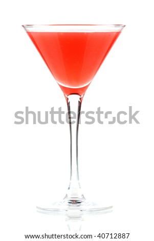 Alcohol cocktail with orange juice and grenadine isolated on white background