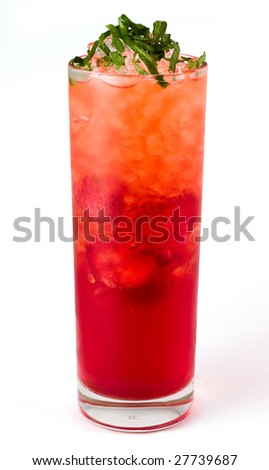 Alcohol cocktail with strawberries, mint and ice in glass - stock photo