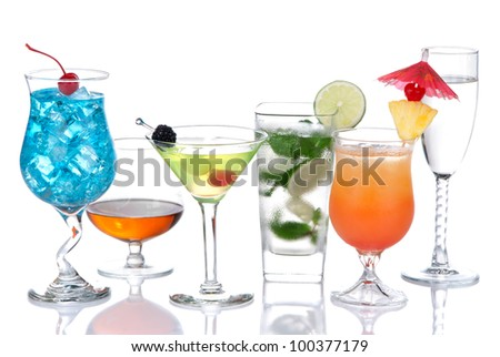Alcohol Cocktails. Many drinks beverages Blue lagoon, mojito; tropical Martini, tequila sunrise, margarita, champagne and cognac glass, cocktail umbrella cherry, lime, pineapple on white background - stock photo