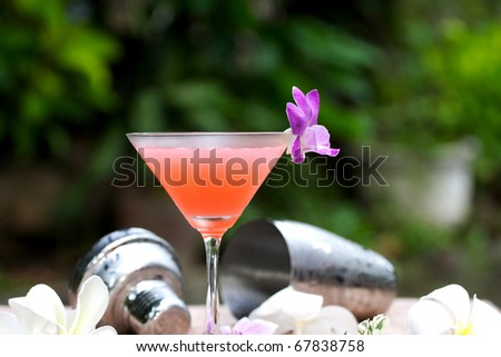 Alcohol Drinking : Metropolitan pink cocktail with vodka, triple sec, red cranberry juice, lime and lemon in green background - stock photo