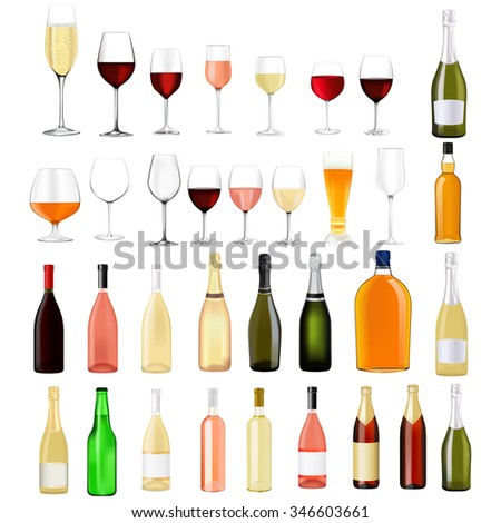 Alcohol drinks in bottles and glasses: whiskey, cognac, brandy, beer, champagne, wine. Raster version. Illustration isolated on white.