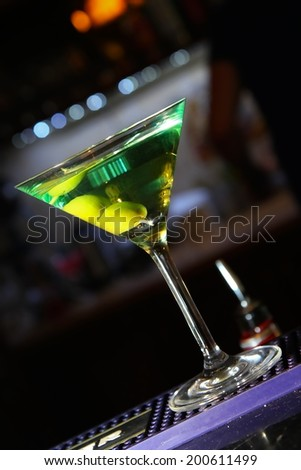 alcohol drinks on bar. cocktail - stock photo