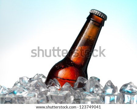 Alcohol drinks on ice chest - stock photo