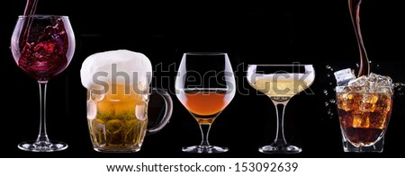 alcohol drinks set isolated on a black background - beer,wine,champagne,scotch,soda - stock photo