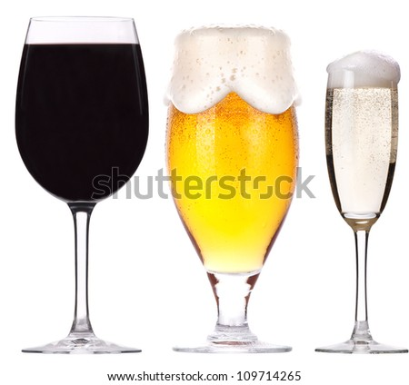 alcohol drinks set isolated on a white background - stock photo