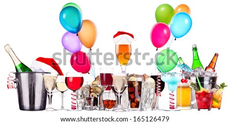 alcohol drinks set  with lot of air balloons - beer, wine, champagne, cola, scotch, brandy - stock photo