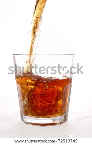 alcohol flow into the glass with splash