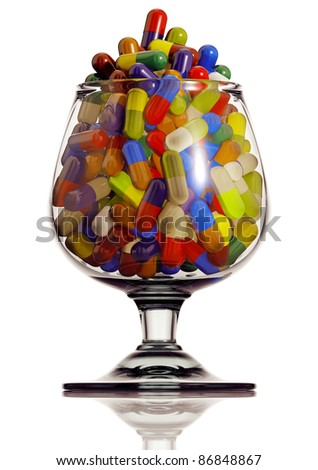 Alcohol glass with medical capsules isolated on white background, 3D. - stock photo
