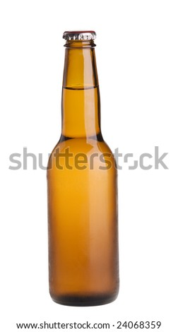 Alcohol light beer closed  bottle isolated on a white background