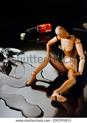 Alcohol problem symbolically - stock photo