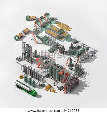 Alcohol Production. Graphical display of the production technology of edible alcohol and fusel oils - stock photo