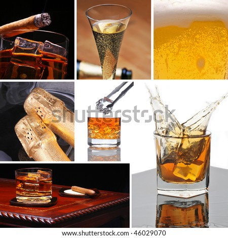 Alcoholic Beverage Collage made from seven photographs. The images show beer, whiskey, champagne and a cigar on different surfaces. - stock photo