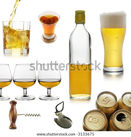 Alcoholic beverages isolated over a white background - stock photo