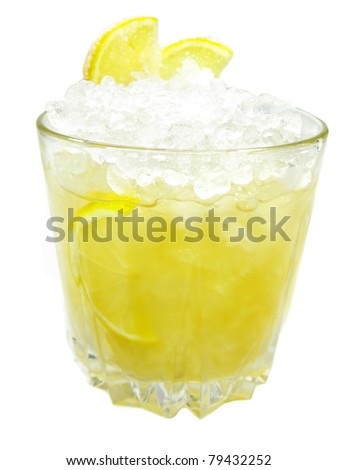 alcoholic cocktail drink with ice and lemon vanilla kick