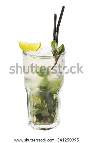 alcoholic cocktail in a glass glass on a white background