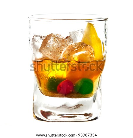 Alcoholic cocktail in old fashioned glass isolated on white background