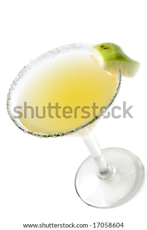 Alcoholic Cocktail Made of Tequila Mixed and Lemon Juice. Serve with Apple Slice. Isolated on White Background - stock photo