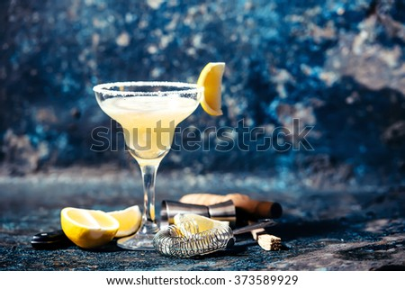 Alcoholic cocktail, margarita beverage served in casino, bar, restaurant or pub - stock photo