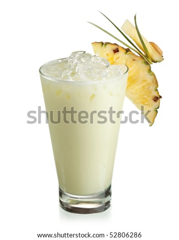 Alcoholic Cocktail - Midori with Rum, Colada, Pineapple and Cream - stock photo