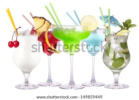 alcoholic cocktail set isolated on a white background