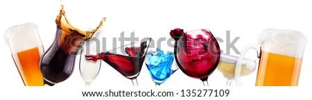 alcoholic cocktail set  splash - cocktail, cola, beer, wine,champagne - stock photo