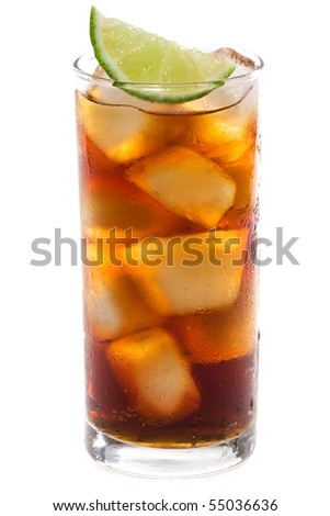 Alcoholic cocktail  with lime on white background