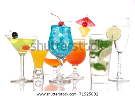 Alcoholic Cocktails. Many drinks beverages Blue lagoon, mojito; tropical  Martini, tequila sunrise, margarita, champagne and cognac glass, cocktail umbrella cherry, lime, pineapple on white background - stock photo