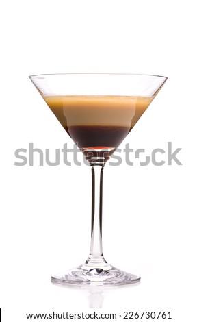 alcoholic cocktails: single B52 isolated on white background - stock photo