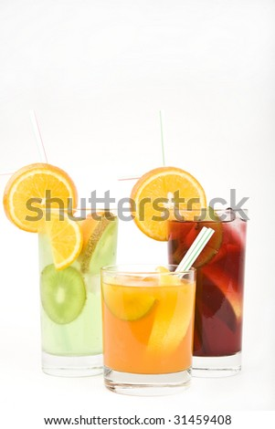 Alcoholic cocktails, studio photographing, isolated on white background