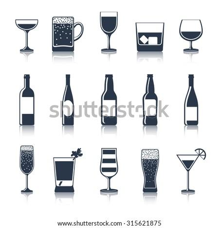 Alcoholic drink party bar restaurant icons black set isolated  illustration - stock photo