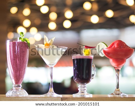 Alcoholic Drinks. Four cocktails - stock photo
