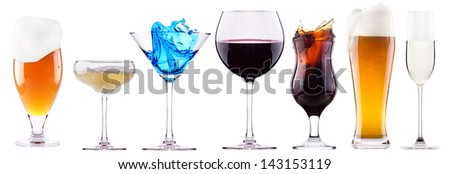 alcoholic drinks set with splash - cocktail, cola, beer, wine,champagne, juice