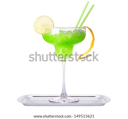 alcoholic exotic cocktail isolated on a white background