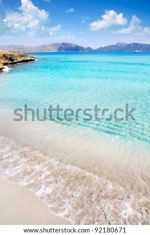 Alcudia beach in Cala San Pere from Balearic Mallorca island at Spain - stock photo