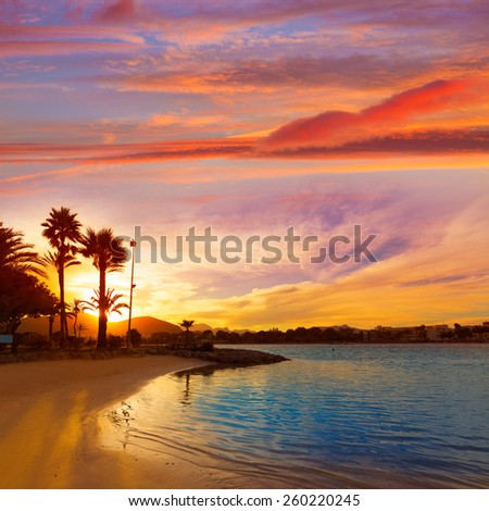 Alcudia Majorca at sunset on the beach Mallorca Balearic islands - stock photo