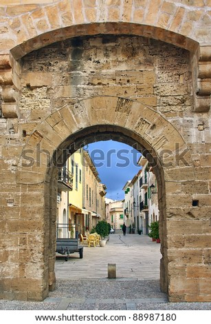 Alcudia Medieval Gate in Majorca (Balearic Islands - Spain) - stock photo