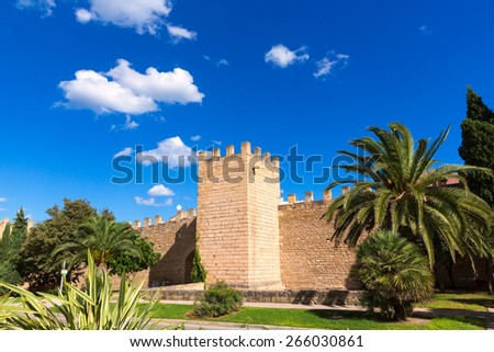 Alcudia Old Town fortress wall in Majorca Mallorca Balearic island of Spain - stock photo